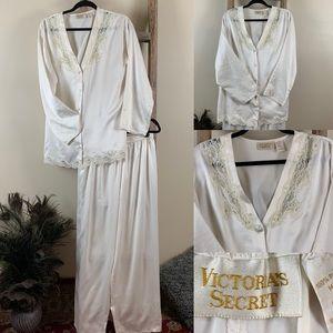 Victoria's Secret Vintage Silk Lace Cream Pajamas